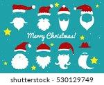 vector. santa hats  moustache... | Shutterstock .eps vector #530129749