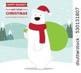 Cute Polar Bear Wearing Santa...