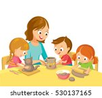 pottery art class with children ... | Shutterstock .eps vector #530137165