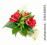 Small photo of Bouquet composition with red amaryllis isolated on white