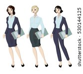 three business woman with... | Shutterstock .eps vector #530144125