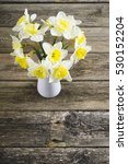 white daffodils at china vase... | Shutterstock . vector #530152204