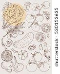 set of vegetables. fresh food.... | Shutterstock .eps vector #530153635