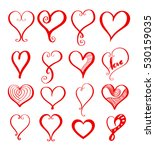 red heart drawing icon set for... | Shutterstock .eps vector #530159035