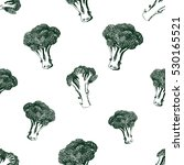 seamless broccoli pattern.... | Shutterstock .eps vector #530165521