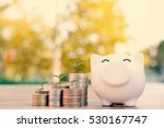 coin piggy bank and green plant ... | Shutterstock . vector #530167747