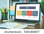 seo icon concept on laptop... | Shutterstock . vector #530180857