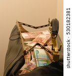 Leather Bag With Bank Notes...