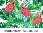 pink flamingos  exotic birds ... | Shutterstock . vector #530183251