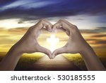 hand shape love sign with...   Shutterstock . vector #530185555