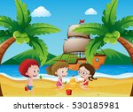 kids playing on the beach... | Shutterstock .eps vector #530185981