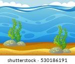 underwater scene with seaweeds... | Shutterstock .eps vector #530186191