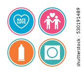 condom safe sex icons. lovers... | Shutterstock .eps vector #530191489