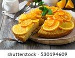 orange and mandarin cake with... | Shutterstock . vector #530194609
