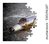 broken bottle of beer resting... | Shutterstock . vector #530196187