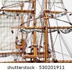 Ship Spar And Sail Close Up An...