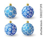 Set Of Blue Christmas Balls Fo...