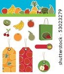 fruit banner  stickers  bag and ... | Shutterstock .eps vector #53023279