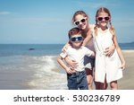 three happy children  standing... | Shutterstock . vector #530236789