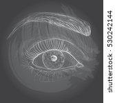 right eye drawing. chalk... | Shutterstock .eps vector #530242144
