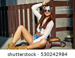 funny stylish sexy smiling... | Shutterstock . vector #530242984