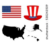 map of the usa with a hat and... | Shutterstock .eps vector #530243509