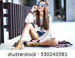 funny stylish sexy smiling... | Shutterstock . vector #530243581