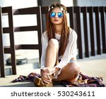 funny stylish sexy smiling... | Shutterstock . vector #530243611
