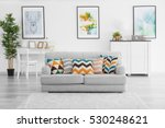 modern living room with grey... | Shutterstock . vector #530248621