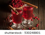 Two Cups Of Red Hot Tea Drink...