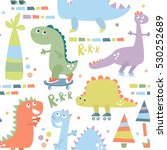 seamless pattern with dinosaur. ... | Shutterstock .eps vector #530252689