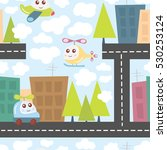 kids pattern with city...   Shutterstock .eps vector #530253124