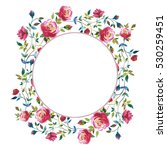 wildflower rose flower wreath... | Shutterstock . vector #530259451