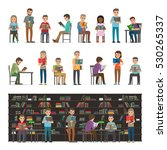 reading people set isolated on...   Shutterstock .eps vector #530265337