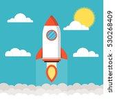 startup concept. rocket flies... | Shutterstock .eps vector #530268409