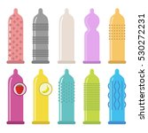 vector set of condom icons.... | Shutterstock .eps vector #530272231