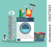 vector set of laundry cleaning  ... | Shutterstock .eps vector #530272825
