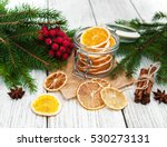 Jar With Dried Oranges And...