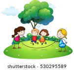 children playing jump rope in... | Shutterstock .eps vector #530295589