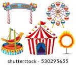 circus set with rides and tent... | Shutterstock .eps vector #530295655