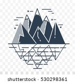icon of mountains in a linear... | Shutterstock .eps vector #530298361
