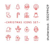 christmas outline icons | Shutterstock .eps vector #530299429