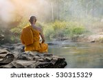 buddhist monk in meditation in... | Shutterstock . vector #530315329