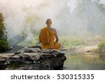Buddhist Monk In Meditation In...