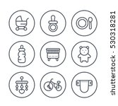 baby line icons in circles on... | Shutterstock .eps vector #530318281