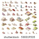 Vector buildings set. Isometric low poly city buildings, rural buildings and houses, industrial structures and elements | Shutterstock vector #530319535