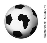Football/soccer ball with map of Africa as one of its panels. - stock photo