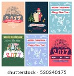 collection of 6 christmas card... | Shutterstock .eps vector #530340175