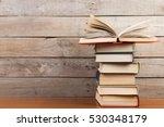 open book on the wooden... | Shutterstock . vector #530348179