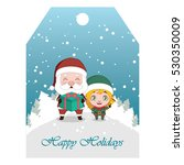 santa and elf on snowy... | Shutterstock .eps vector #530350009